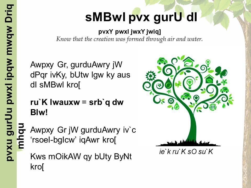 Awpxy Gr, gurduAwry jW dPqr ivKy, bUtw lgw ky aus dI sMBwl kro[ ru`K lwauxw = srb`q dw Blw.