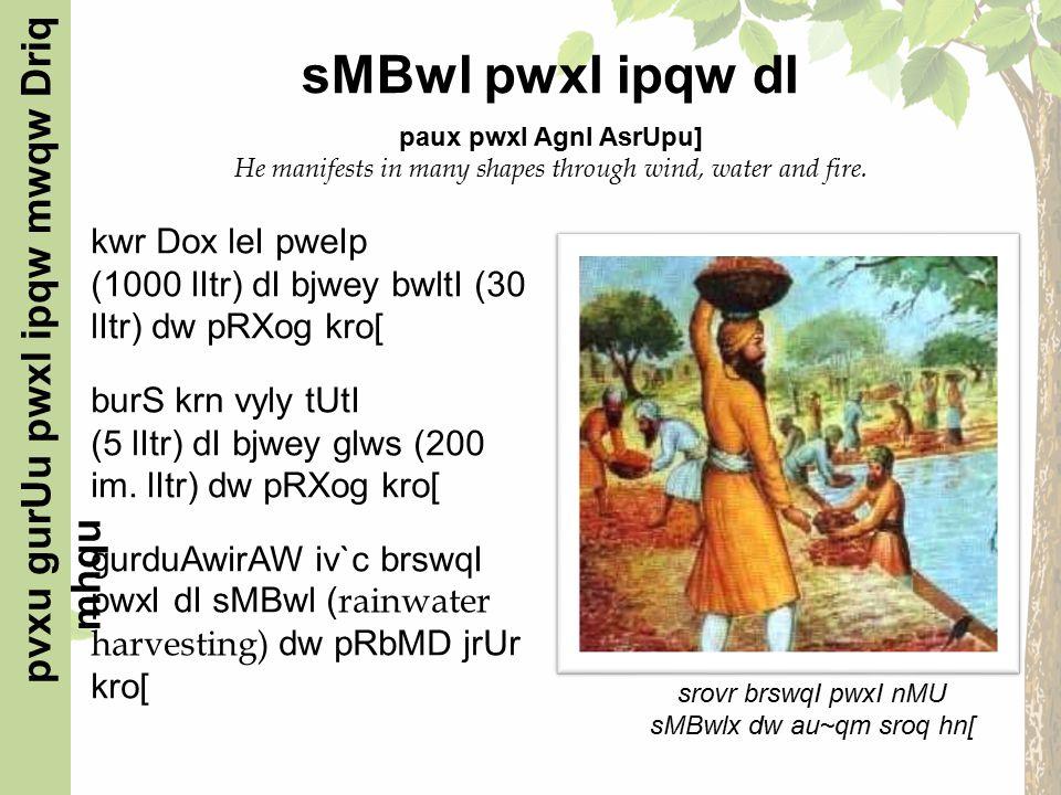 kwr Dox leI pweIp (1000 lItr) dI bjwey bwltI (30 lItr) dw pRXog kro[ burS krn vyly tUtI (5 lItr) dI bjwey glws (200 im.