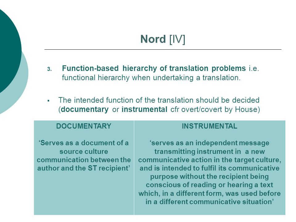 3. Function-based hierarchy of translation problems i.e. functional hierarchy when undertaking a translation.  The intended function of the translati