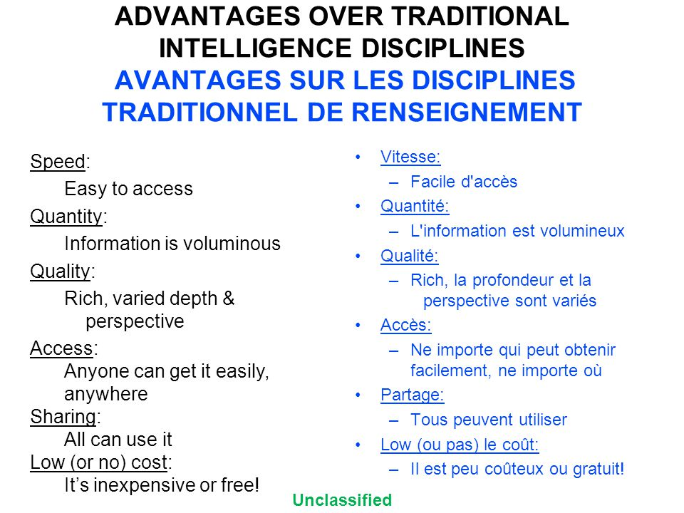 Unclassified ADVANTAGES OVER TRADITIONAL INTELLIGENCE DISCIPLINES AVANTAGES SUR LES DISCIPLINES TRADITIONNEL DE RENSEIGNEMENT Speed: Easy to access Quantity: Information is voluminous Quality: Rich, varied depth & perspective Access: Anyone can get it easily, anywhere Sharing: All can use it Low (or no) cost: It's inexpensive or free.