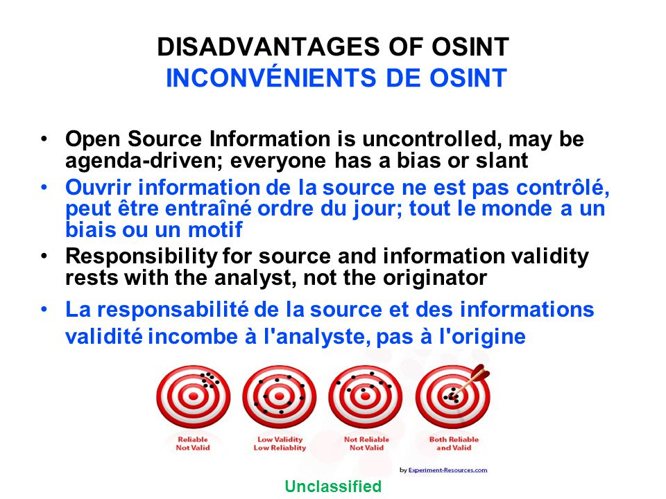 Unclassified DISADVANTAGES OF OSINT INCONVÉNIENTS DE OSINT Open Source Information is uncontrolled, may be agenda-driven; everyone has a bias or slant Ouvrir information de la source ne est pas contrôlé, peut être entraîné ordre du jour; tout le monde a un biais ou un motif Responsibility for source and information validity rests with the analyst, not the originator La responsabilité de la source et des informations validité incombe à l analyste, pas à l origine