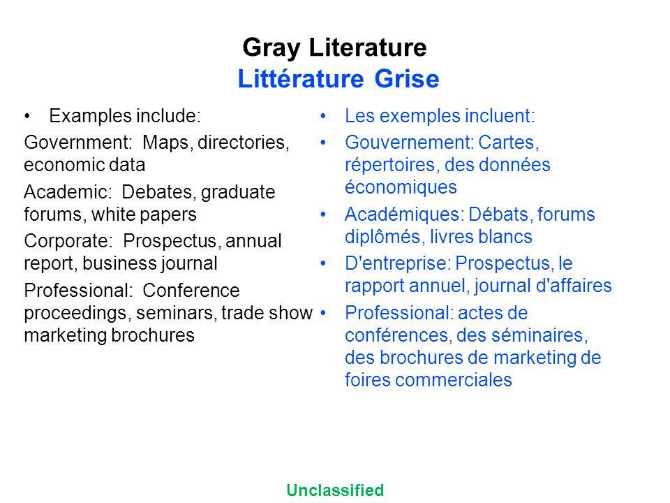 Unclassified Gray Literature Littérature Grise Examples include: Government: Maps, directories, economic data Academic: Debates, graduate forums, whit