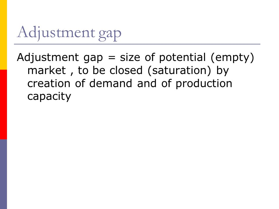 Adjustment gap Adjustment gap = size of potential (empty) market, to be closed (saturation) by creation of demand and of production capacity