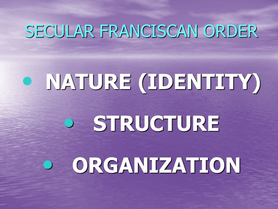 SECULAR FRANCISCAN ORDER NATURE (IDENTITY) NATURE (IDENTITY) STRUCTURE STRUCTURE ORGANIZATION ORGANIZATION