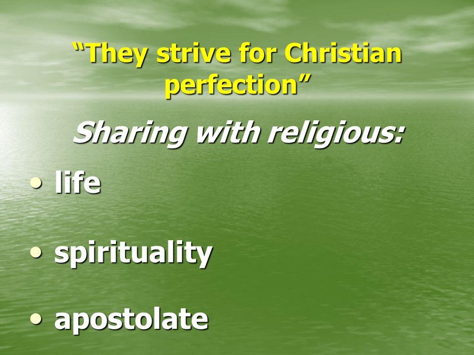 """""""They strive for Christian perfection"""" Sharing with religious: life life spirituality spirituality apostolate apostolate"""