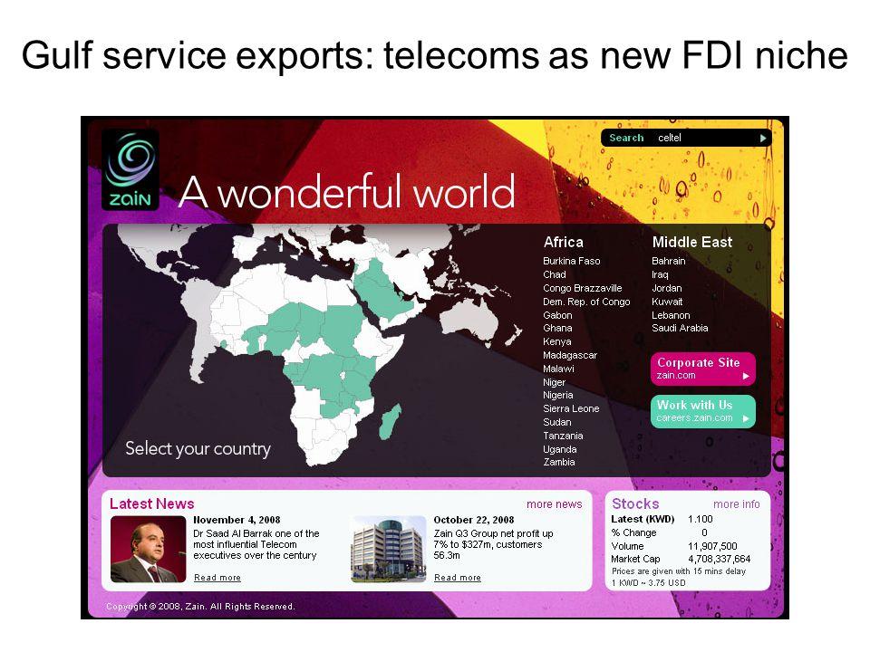 Gulf service exports: telecoms as new FDI niche