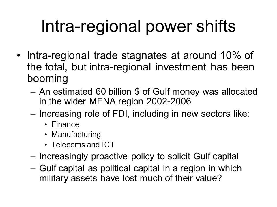The geo-economics of Gulf oveseas capital: basic figures Gross official reserves of MENA have increased at a 5-year CAGR of 43.3% from $180 billion in 2003 to $1.087 trillion in 2008.