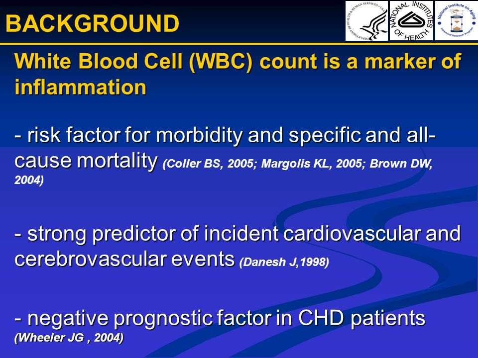 White Blood Cell (WBC) count is a marker of inflammation - risk factor for morbidity and specific and all- cause mortality - strong predictor of incident cardiovascular and cerebrovascular events - negative prognostic factor in CHD patients (Wheeler JG, 2004) White Blood Cell (WBC) count is a marker of inflammation - risk factor for morbidity and specific and all- cause mortality (Coller BS, 2005; Margolis KL, 2005; Brown DW, 2004) - strong predictor of incident cardiovascular and cerebrovascular events (Danesh J,1998) - negative prognostic factor in CHD patients (Wheeler JG, 2004) BACKGROUND