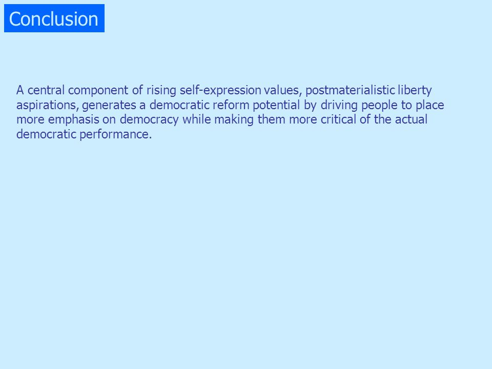 Conclusion A central component of rising self-expression values, postmaterialistic liberty aspirations, generates a democratic reform potential by dri
