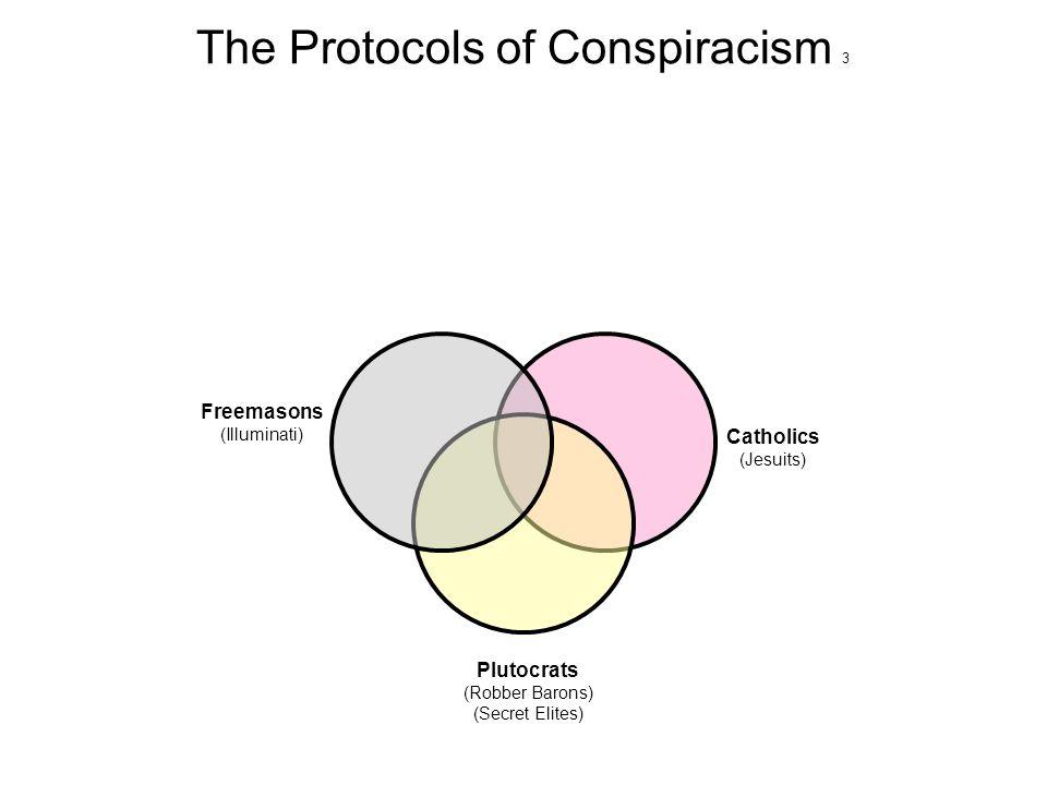 The Protocols of Conspiracism 4 Jews (Zionists) (Khazars) Catholics (Jesuits) Plutocrats (Robber Barons) (Secret Elites) Freemasons (Illuminati)