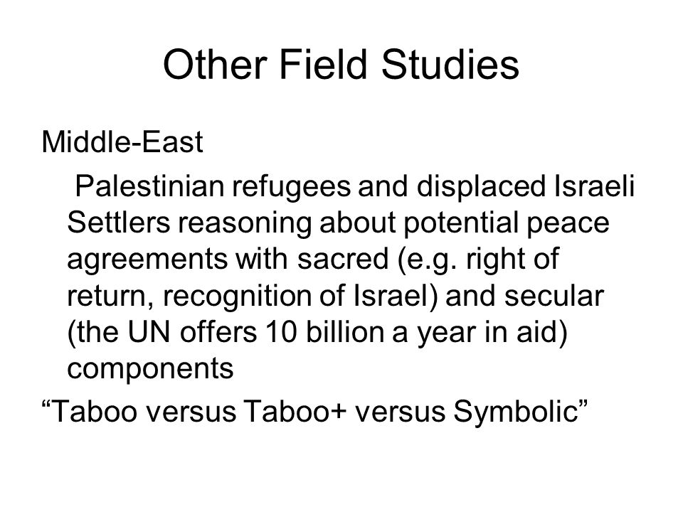 Other Field Studies Middle-East Palestinian refugees and displaced Israeli Settlers reasoning about potential peace agreements with sacred (e.g.