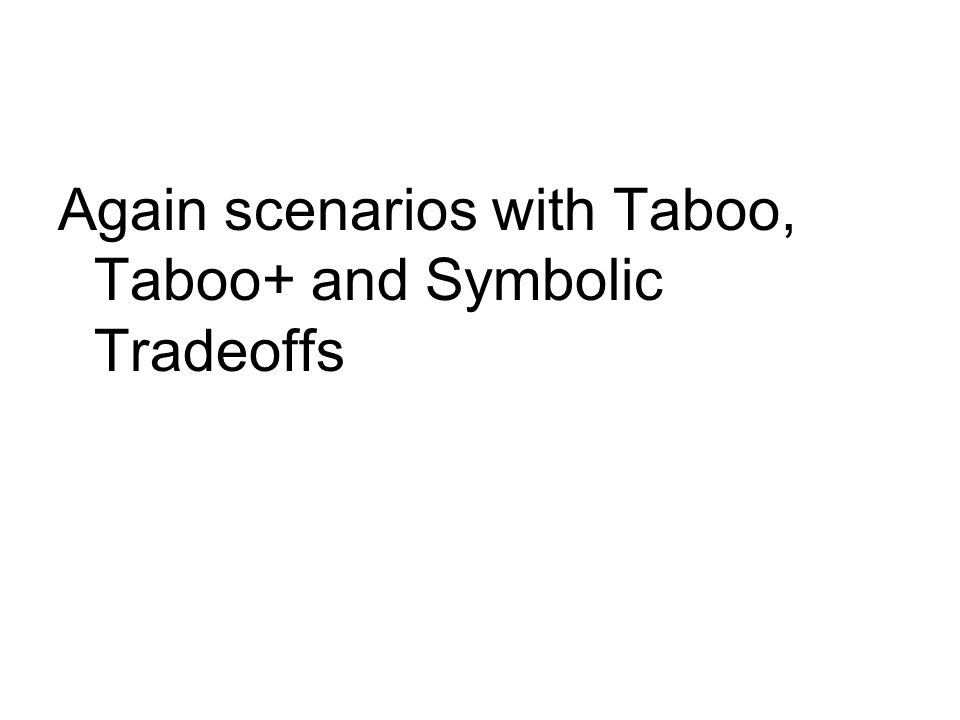 Again scenarios with Taboo, Taboo+ and Symbolic Tradeoffs