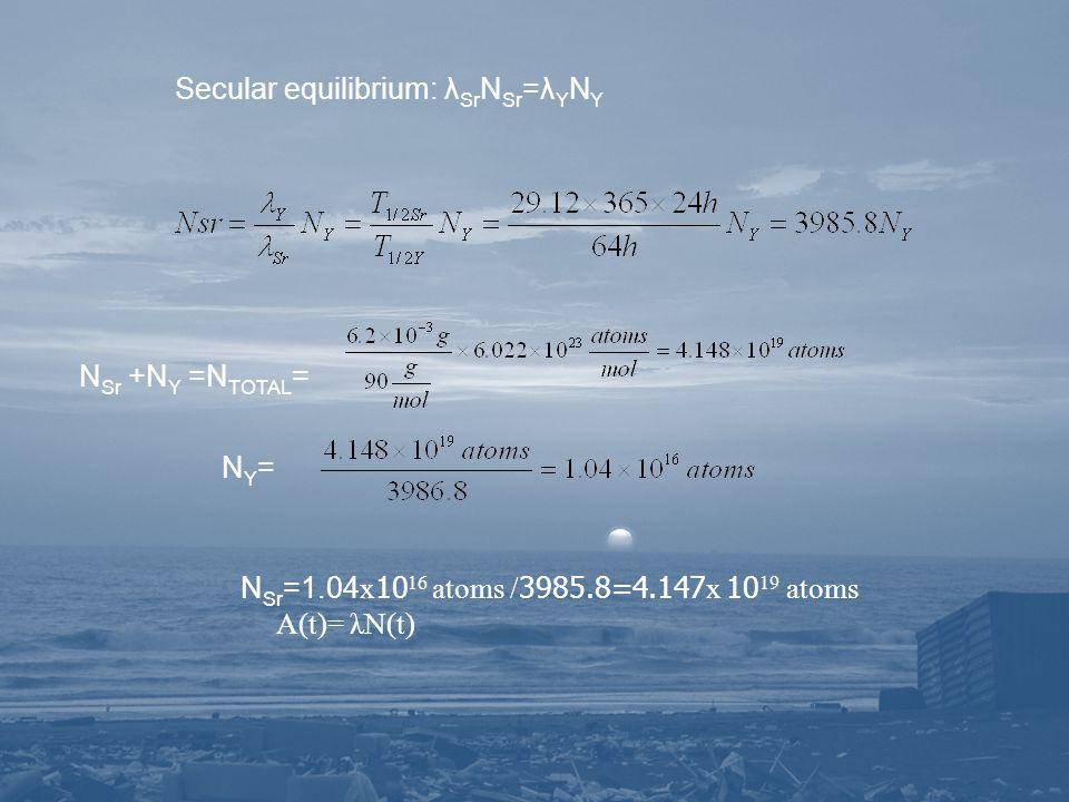 Secular equilibrium: λ Sr N Sr =λ Y N Y N Sr +N Y =N TOTAL = N Y = N Sr =1.04 x 10 16 atoms / 3985.8=4.147 x 10 19 atoms A(t)= λN(t)