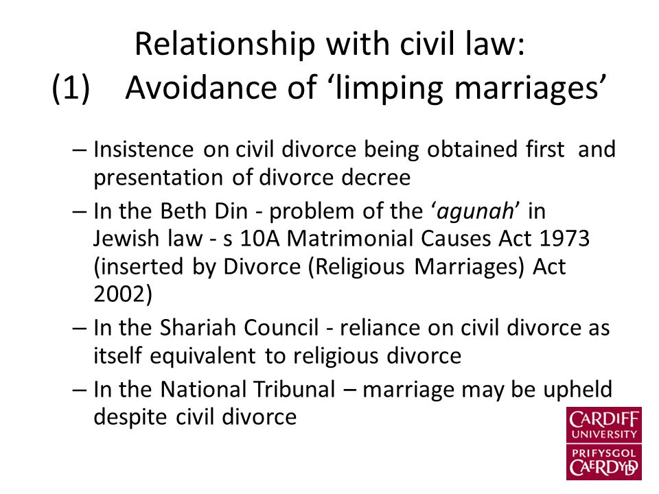 Relationship with civil law: (1) Avoidance of 'limping marriages' – Insistence on civil divorce being obtained first and presentation of divorce decree – In the Beth Din - problem of the 'agunah' in Jewish law - s 10A Matrimonial Causes Act 1973 (inserted by Divorce (Religious Marriages) Act 2002) – In the Shariah Council - reliance on civil divorce as itself equivalent to religious divorce – In the National Tribunal – marriage may be upheld despite civil divorce