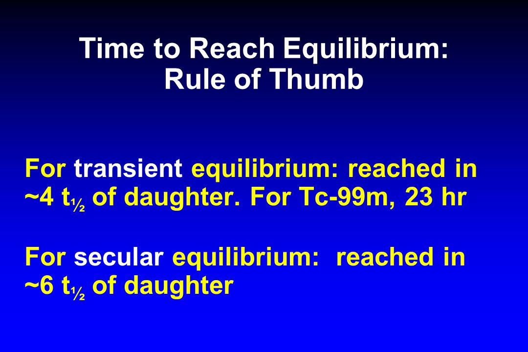 Time to Reach Equilibrium: Rule of Thumb For transient equilibrium: reached in ~4 t ½ of daughter. For Tc-99m, 23 hr For secular equilibrium: reached