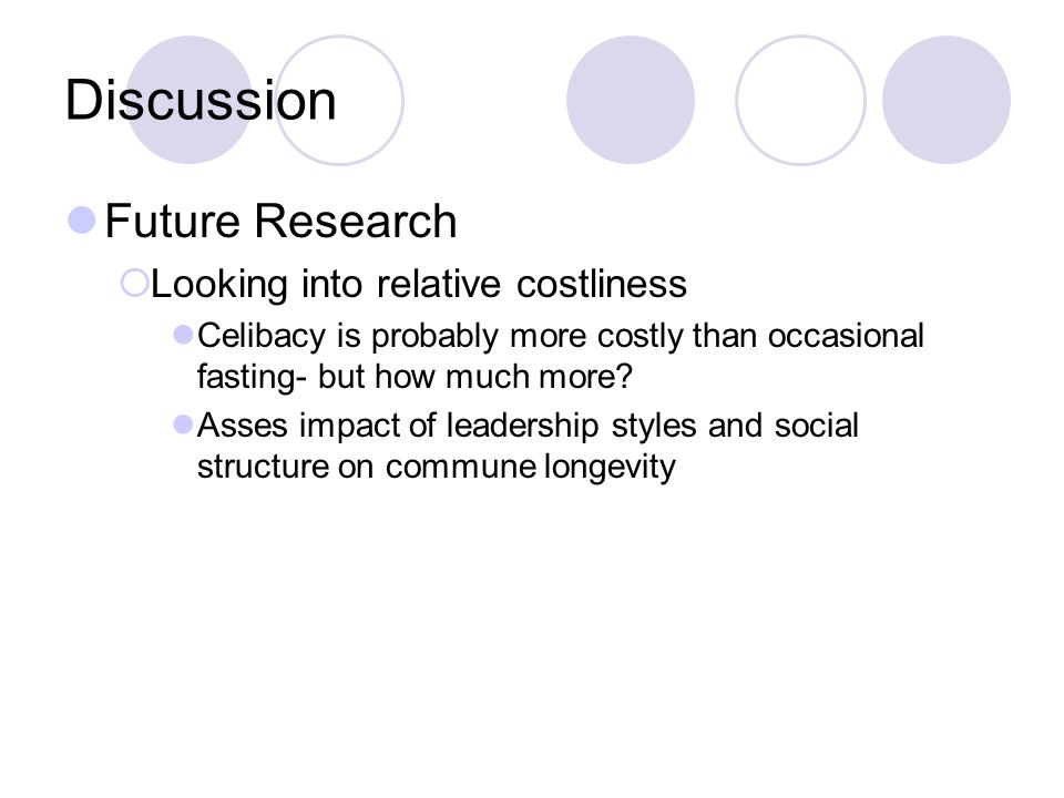 Discussion Future Research  Looking into relative costliness Celibacy is probably more costly than occasional fasting- but how much more.