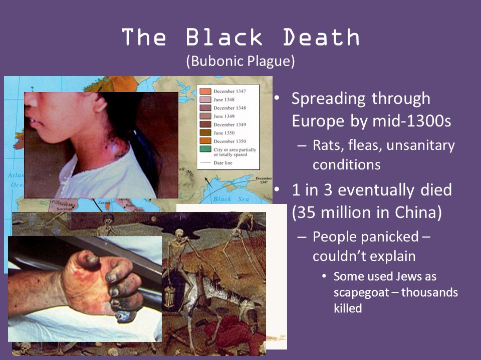 The Black Death (Bubonic Plague) Spreading through Europe by mid-1300s – Rats, fleas, unsanitary conditions 1 in 3 eventually died (35 million in China) – People panicked – couldn't explain Some used Jews as scapegoat – thousands killed