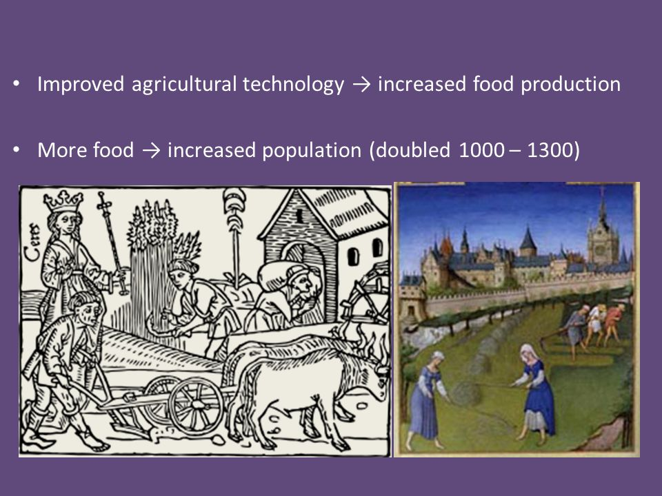 Improved agricultural technology → increased food production More food → increased population (doubled 1000 – 1300)