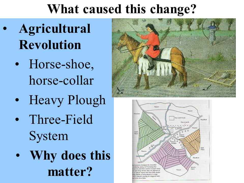 What caused this change? Agricultural Revolution Horse-shoe, horse-collar Heavy Plough Three-Field System Why does this matter?