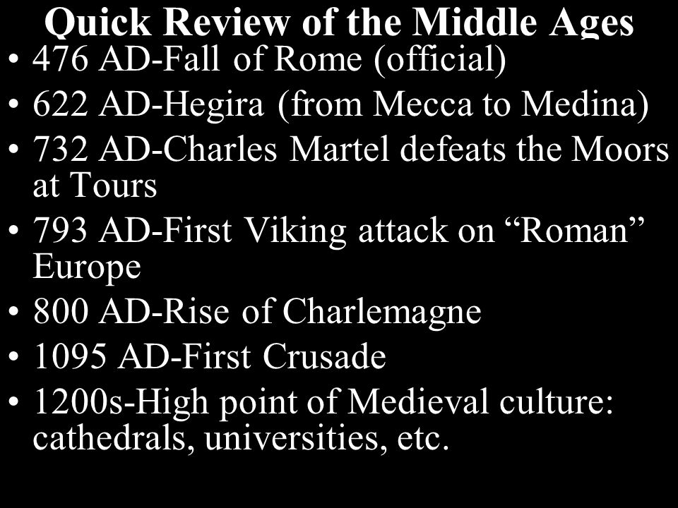 So what characterizes 'Medieval'?