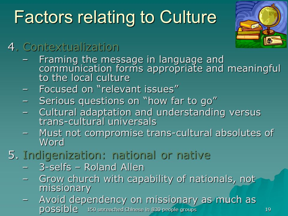 Factors relating to Culture 4.