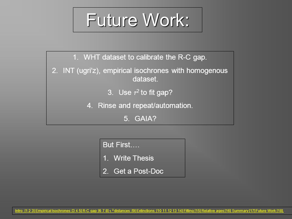 Future Work: 1.WHT dataset to calibrate the R-C gap.