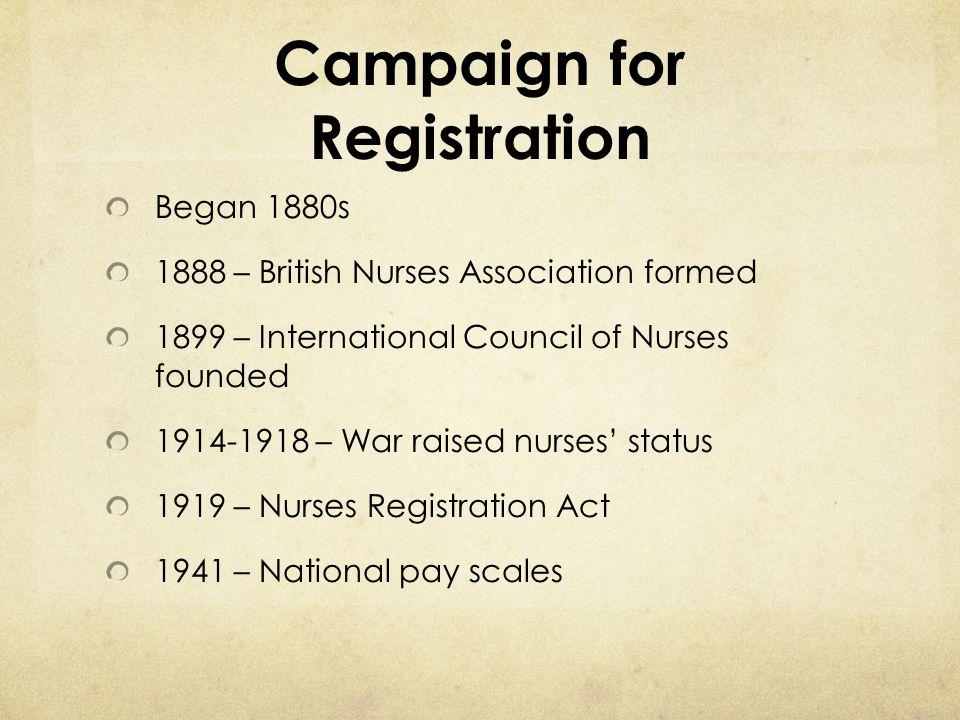 Campaign for Registration Began 1880s 1888 – British Nurses Association formed 1899 – International Council of Nurses founded 1914-1918 – War raised n