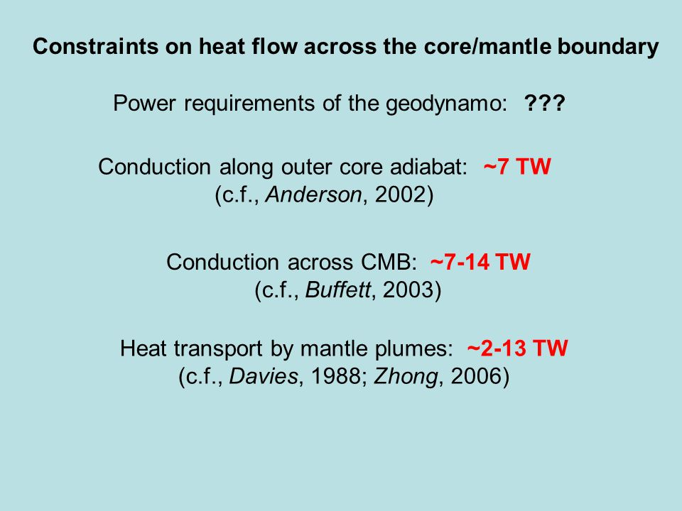 Constraints on heat flow across the core/mantle boundary Power requirements of the geodynamo: .