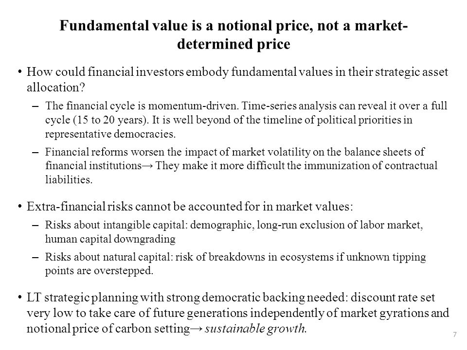 Fundamental value is a notional price, not a market- determined price How could financial investors embody fundamental values in their strategic asset allocation.