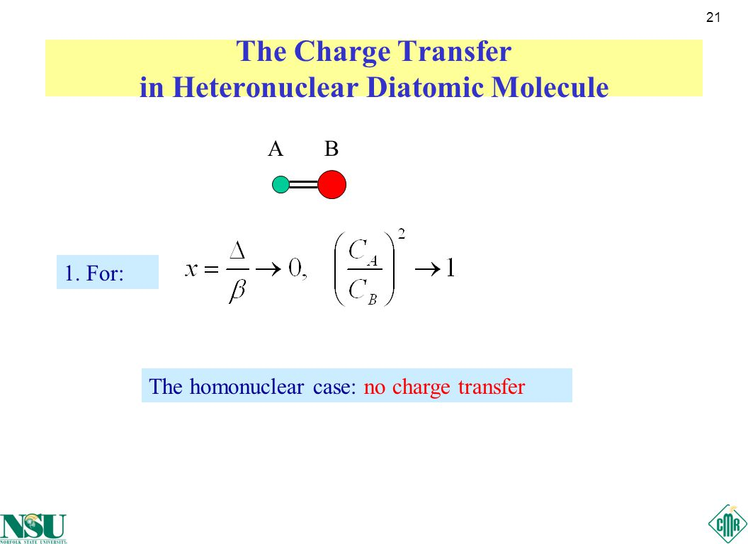 21 The Charge Transfer in Heteronuclear Diatomic Molecule AB 1.