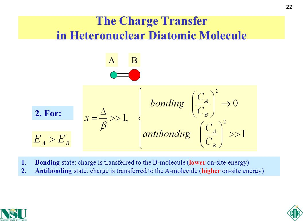 22 The Charge Transfer in Heteronuclear Diatomic Molecule AB 2.