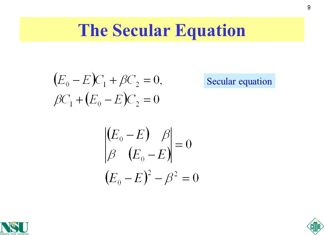 10 Solutions of the Secular Equation Solutions Bonding (b) and antibonding (a) molecular orbital energies Normalized eigen states