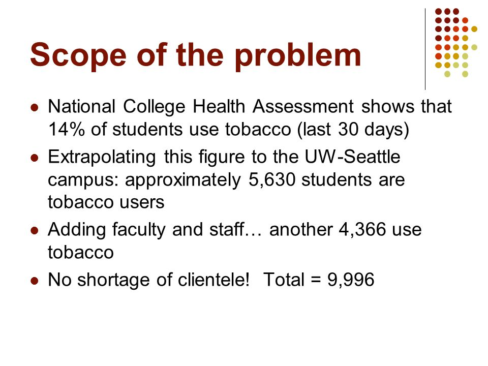 Scope of the problem National College Health Assessment shows that 14% of students use tobacco (last 30 days) Extrapolating this figure to the UW-Seattle campus: approximately 5,630 students are tobacco users Adding faculty and staff… another 4,366 use tobacco No shortage of clientele.