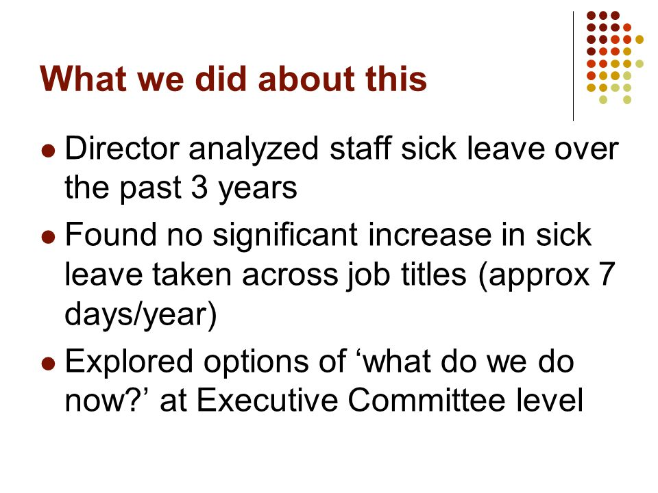 What we did about this Director analyzed staff sick leave over the past 3 years Found no significant increase in sick leave taken across job titles (approx 7 days/year) Explored options of 'what do we do now ' at Executive Committee level