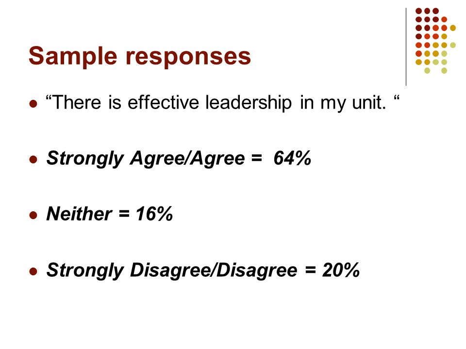 Sample responses There is effective leadership in my unit.
