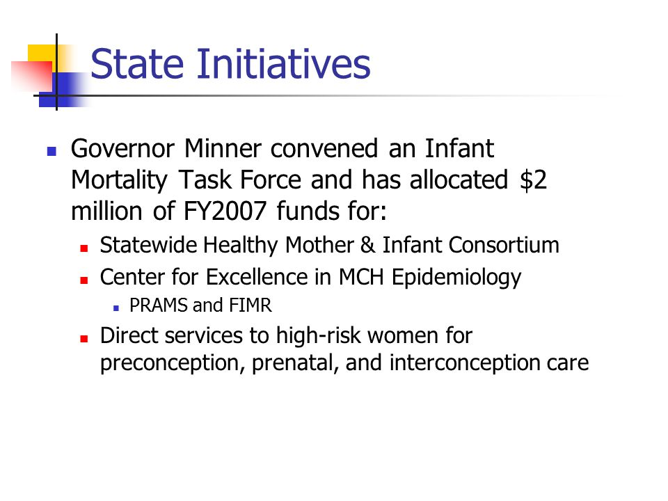 State Initiatives Governor Minner convened an Infant Mortality Task Force and has allocated $2 million of FY2007 funds for: Statewide Healthy Mother & Infant Consortium Center for Excellence in MCH Epidemiology PRAMS and FIMR Direct services to high-risk women for preconception, prenatal, and interconception care