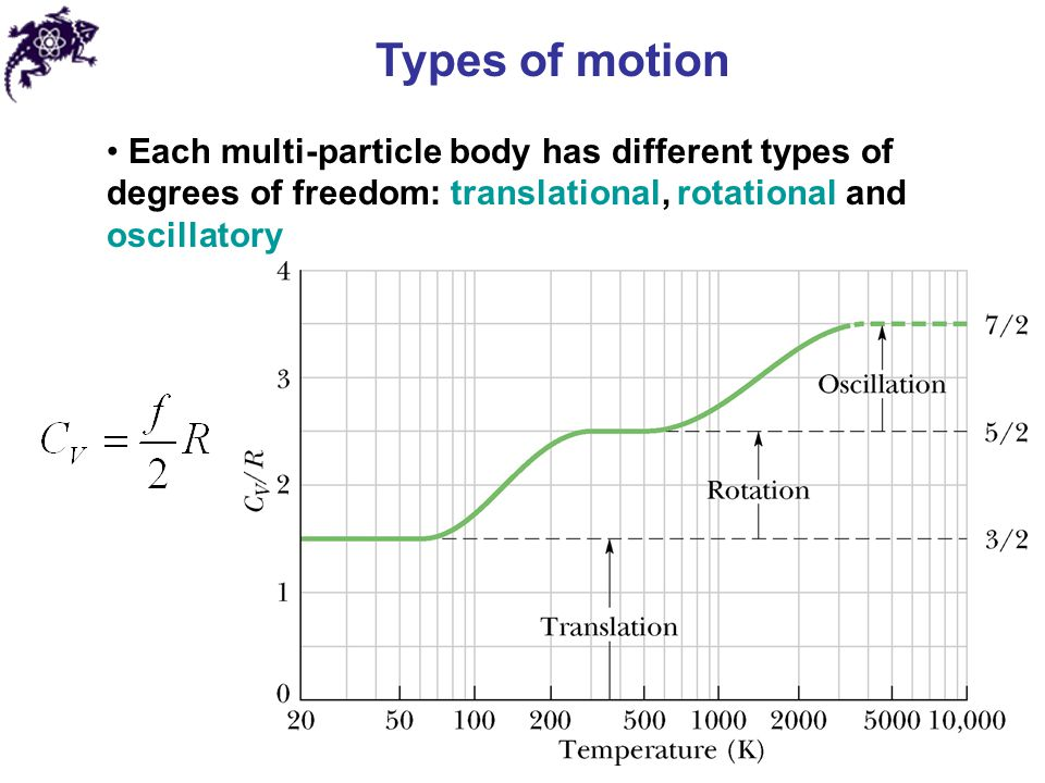 Types of motion Each multi-particle body has different types of degrees of freedom: translational, rotational and oscillatory
