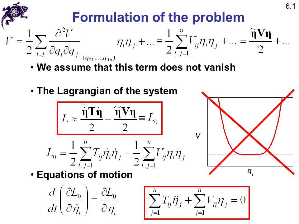 Example: longitudinal oscillations of a CO 2 molecule Normal coordinates: 6.4