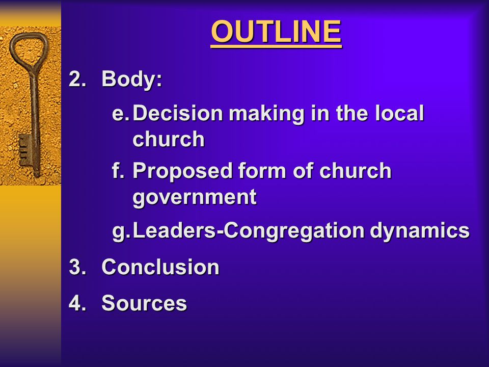 OUTLINE 1.Introduction a.Four facts b.Basic approach 2.Church Government in the NT a.Key functions of an Elder b.Key function of a Deacon c.Appointment of church officers