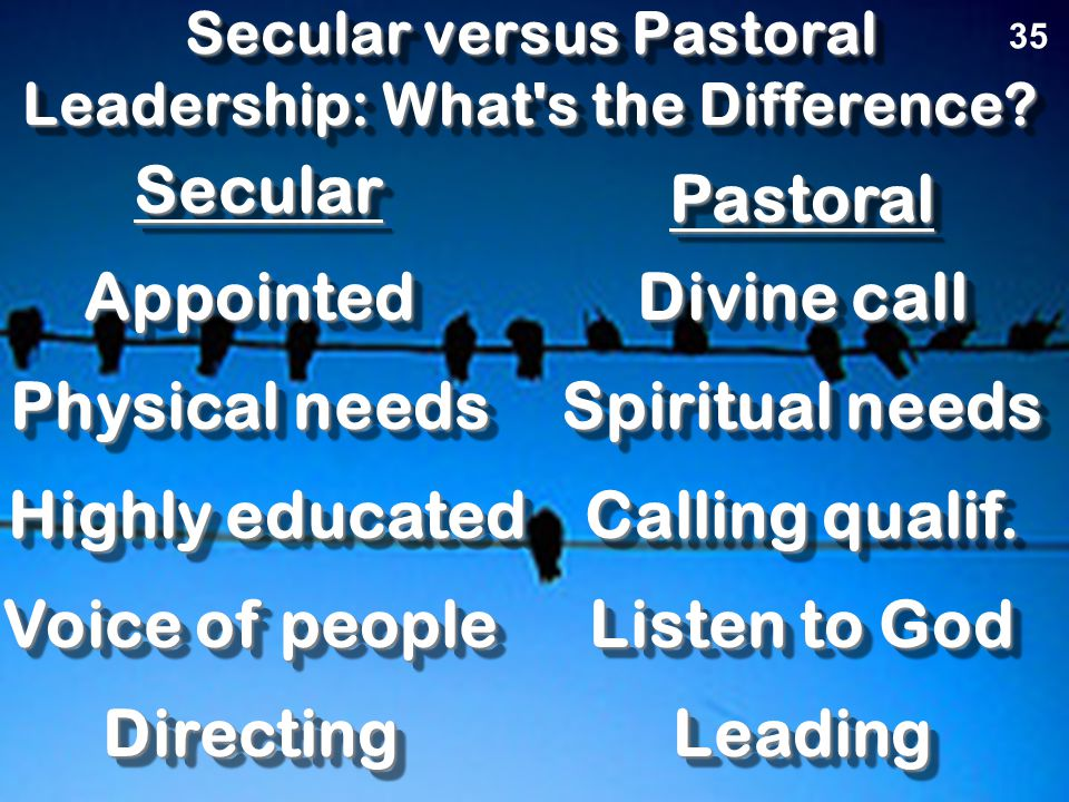 Church Leadership What does it take? 35