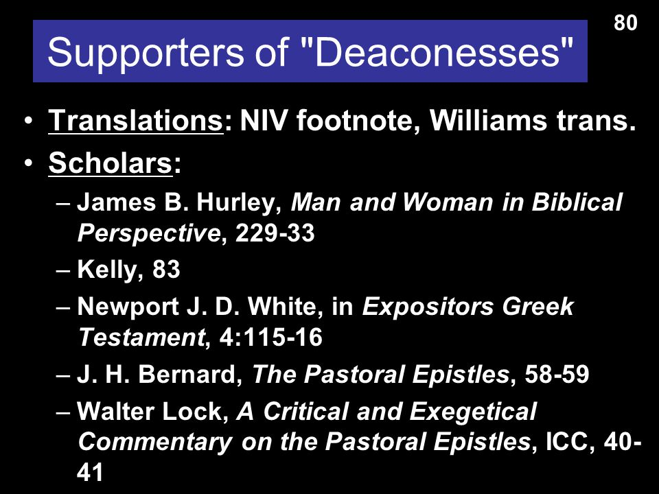 Supporters of Deacon Wives Translations: NIV, KJV, NKJV, GNB, Beck, LB, Phillips Scholars: –Warren Wiersbe, 51-52 –Earle, Expositors Bible Commentary, 11:368 –Litfin, Bible Knowledge Commentary, 2:238 says the view has a slim advantage.