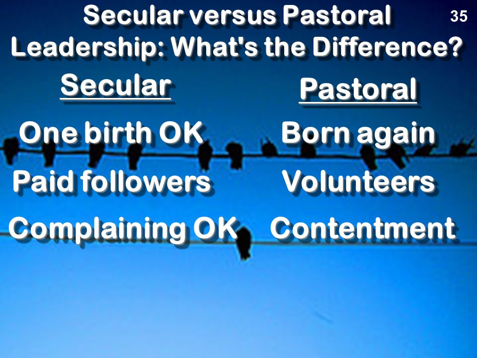 Secular versus Pastoral Leadership: What s the Difference.