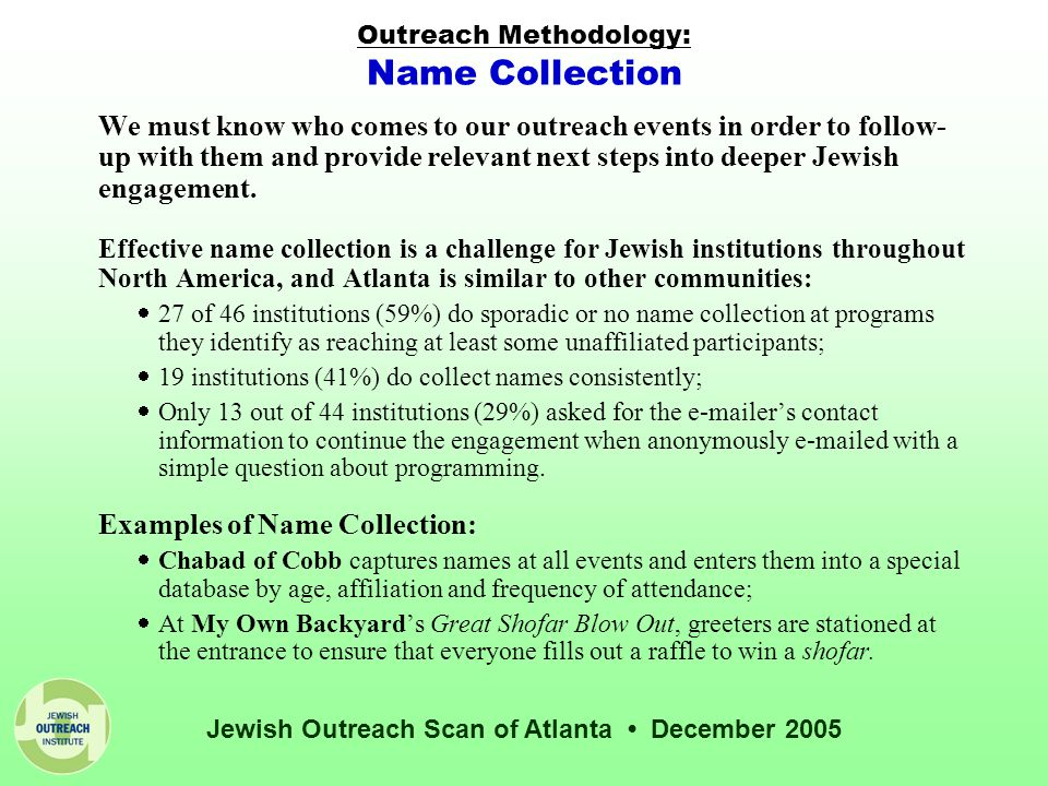 Jewish Outreach Scan of Atlanta December 2005 Outreach Methodology: Name Collection We must know who comes to our outreach events in order to follow- up with them and provide relevant next steps into deeper Jewish engagement.