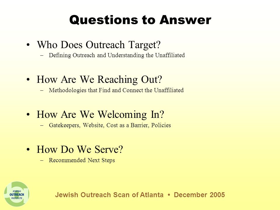 Scan Methodology Anonymous Emails –requesting program information to 44 institutions; received 24 replies (55%) Website Scan Phone Interviews –83 Jewish communal professionals at 46 institutions (20 communal agencies and 26 congregations of all major denominations) Jewish Outreach Scan of Atlanta December 2005 Majority of institutions scanned in Atlanta identified outreach as a priority for their organizations, with 38 of 46 (83%) stating it was a very or extremely high priority
