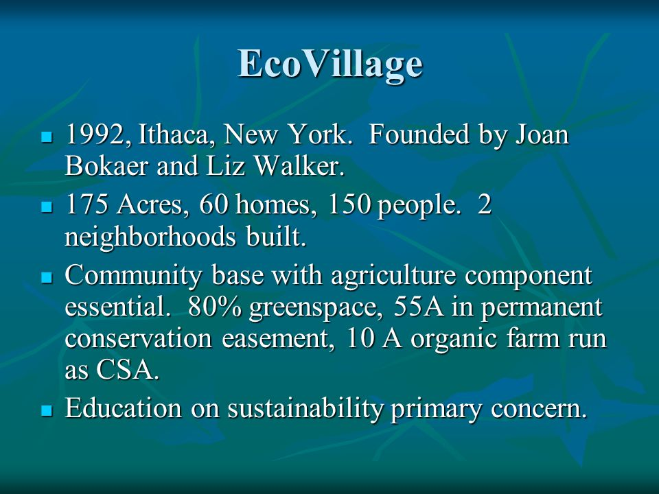 EcoVillage 1992, Ithaca, New York. Founded by Joan Bokaer and Liz Walker.