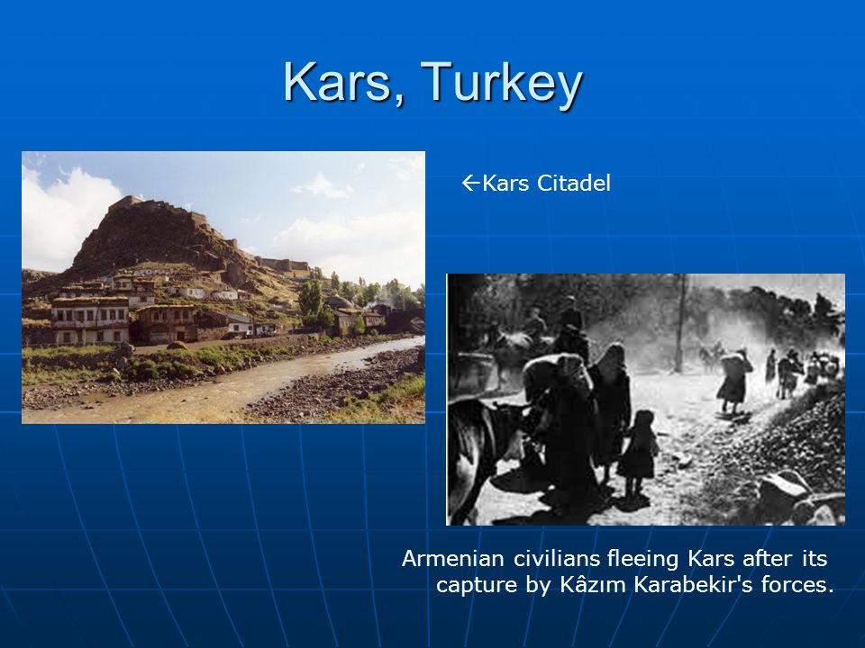 Kars, Turkey Armenian civilians fleeing Kars after its capture by Kâzım Karabekir's forces.  Kars Citadel