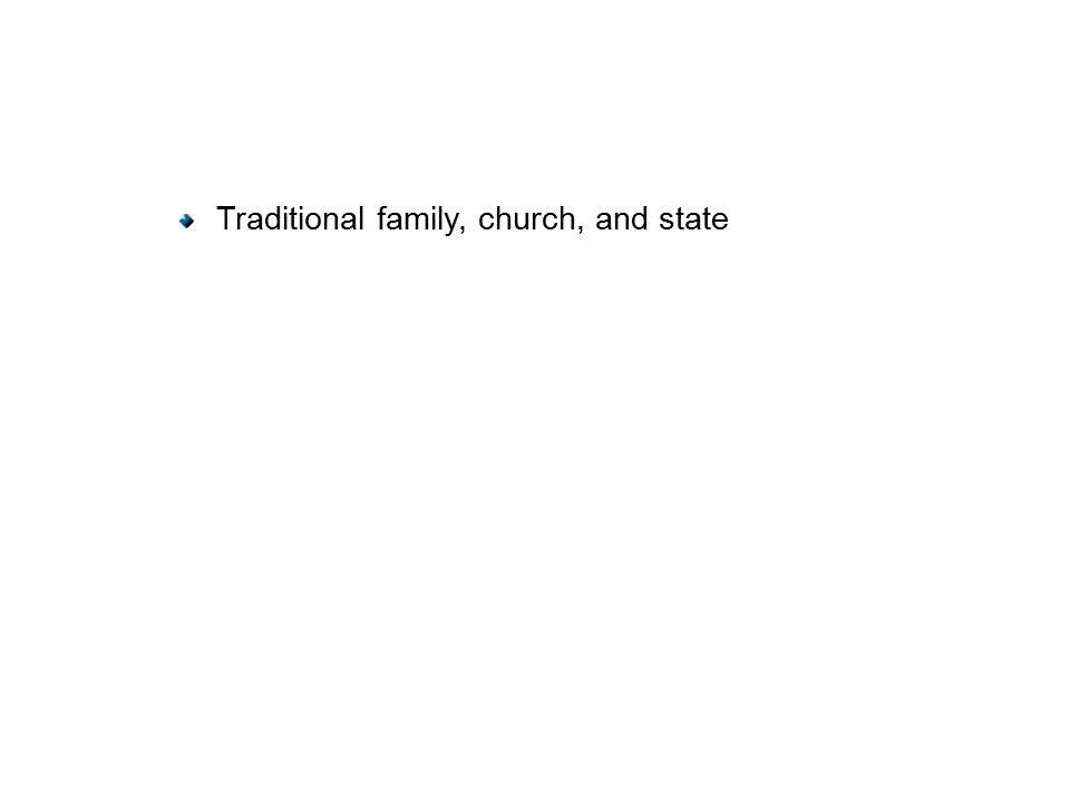 Traditional family, church, and state