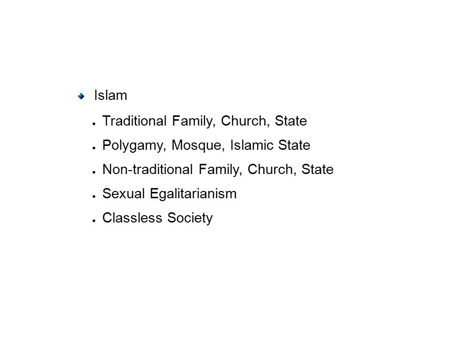Islam ● Traditional Family, Church, State ● Polygamy, Mosque, Islamic State ● Non-traditional Family, Church, State ● Sexual Egalitarianism ● Classless Society