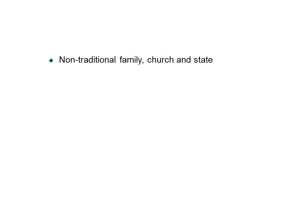 Non-traditional family, church and state