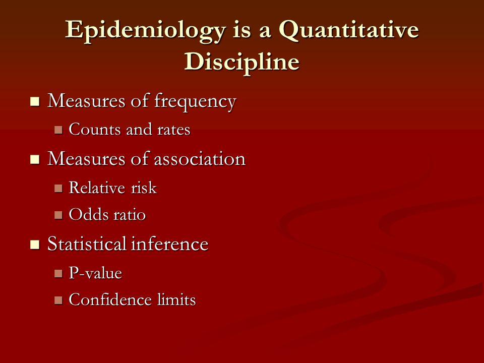 Epidemiology is a Quantitative Discipline Measures of frequency Measures of frequency Counts and rates Counts and rates Measures of association Measur